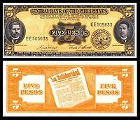 Philippines 1949 English Series 5 Pesos #135e Macapagal//Castillo Uncirculated
