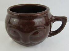 Vintage USA Brown Glazed Pottery SMILEY FACE Coffee Mug Cup Stoneware
