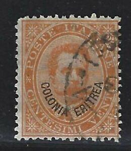 "1892 Eritrea Scott #5 - ""Colonia Eritrea"" Overprinted 20¢ Italian Stamp - Used"