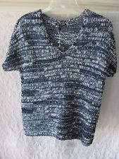 Eileen Fisher Brushstroke Cotton Tape V-Neck Top-Denim Blue -Size PS -NWT $248