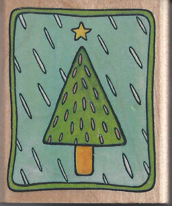 CHRISTMAS TREE - RUBBER STAMPEDE 'CHRISTMAS TREE' WOOD BACKED RUBBER STAMP