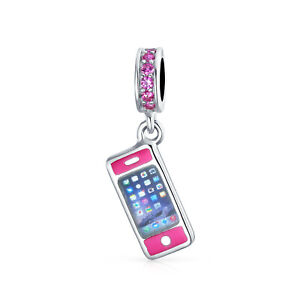 Cellular Cell Smart Mobile Phone Dangle Charm Bead Sterling Silver