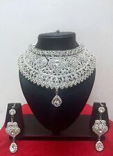 Indisch Modeschmuck Versilbert Bollywood Hochzeit Halskette Ohrring Schmuck Set