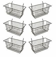 Econoco Black Multi Fit Narrow Wire Basket for Slatwall Pegboard Set of 6