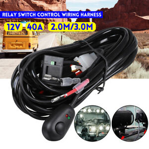 12V Relay Switch Control Wiring Harness 2.0M Wiring for LED Driving Lights Bars