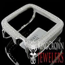 Apple Watch White Gold Finish Sterling Silver Lab Diamond Case 42MM Sport Bezel