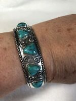 #393 Turquoise Trillion Cabochon Sterling Cuff Bracelet, New With Tags, ERV $250