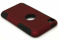 For iPod Touch 4th Generation - HARD & SOFT SILICONE CASE COVER RED BLACK MESH