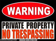 "Private Property No Trespassing 6"" wide Warning Sign Vinyl Sticker Decal WS240"