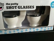 Big Mouth The Potty Shot Glasses Set Of 2 Toilet Party Favors White Black New