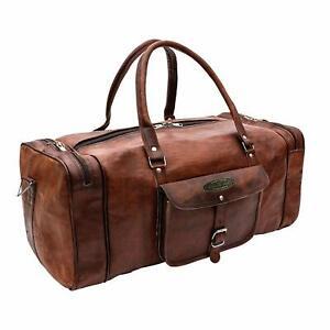 Brown Leather Handmade Travel Luggage Vintage Overnight Weekender Duffel Gym Bag