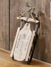 New! Country Rustic Distressed Decorative Sled Sleigh Rides Christmas Decor
