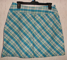 NWOT WOMENS ST. JOHN'S BAY STRETCH BLUE PLAID SKORT  SIZE 8