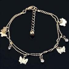 New Fashion Women Charm Rhinestone Gold Butterfly Chain Bracelet Jewelry Gift