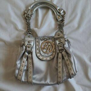 Paris Hilton Handbag/Purse Silver with Rhinestones and chains Detail 2 handle