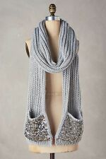 Anthropologie Madison 88 Scarf Shimmered Pocket Scarf Gray  Chunky Knit $88