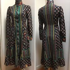 New listing Vtg 1970s Gunne Sax Dress Black Flowers Green Ribbon Cotton Midi Buttons Size 7