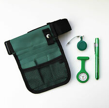 Green nurses kit - pouch + watch + penlight + retractable ID holder