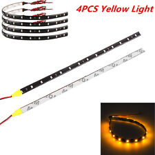4Pcs Yellow  Super Bright 15LED 30CM Car Motorcycle Grill Flexible Light Strip