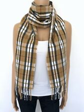 NEW! 100% Cashmere Germany Scarf Hand Tailored Brown White Black Flannel Striped