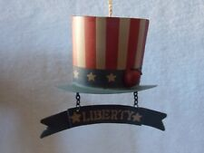 """Metal """" Liberty """" Patriotic Red White Blue Hat With Red Apple Christmas Ornament"""
