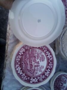 """12 pc Copeland Spode Tower Pink Red  Soup Bowls ,plates 10.5  7.5"""",, all mnt"""