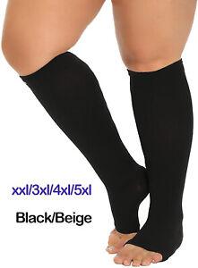 Compression Socks Wide Calf Open Toe 20-30 mmhg Circulation Medical Varicose