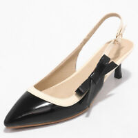 Women Slingbacks Sandals Patent Leather Pointed Toe Kitten Low Heel Pumps Shoes