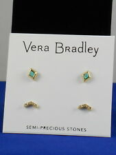 Vera Bradley Goldtone SYLIST SET Turquoise Stone Pave' V Stud Earrings Set $34