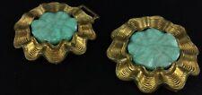Rare ancienne boucle ceinturon ou autre , en laiton doré et émail turquoise