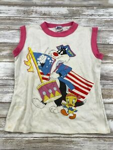 VTG 80s JOG TOGS YOUTH SIZE MEDIUM SYLVESTER AND TWEETY GRAPHIC T SHIRT
