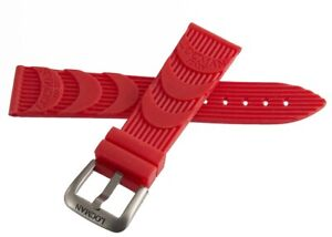 LOCMAN Men's 24MM x 20mm Red Rubber Silver Buckle Band