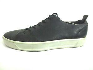 ECCO SOFT 8 TIE DANISH DESIGN Black Leather Sneakers Men's Size 12 [A10]