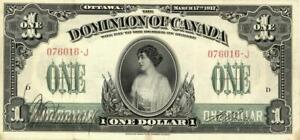 Canada $1 Dollar Dominion Currency Banknote 1917