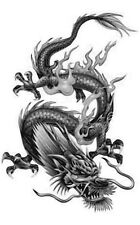 Chinese Dragon 2 Temporary Fake Tattoos Waterpoof Mythical Power Body Transfer