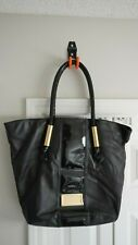 BADGLEY MISCHKA BLACK LEATHER SHOPPER TOTE BAG