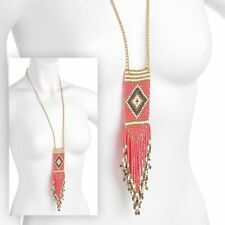 New Ladies Tribal Look Coral Peach Gold Tone Color Long Tassel Necklace