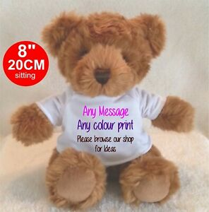 """Personalised teddy bear brown TRADITIONAL STYLE 8""""/20cm BIRTHDAY ANY OCCASION"""