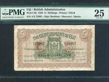 Fiji Islands:P-25j,5 Shillings,1929 * Uniface * Arms * PMG VF 25 *
