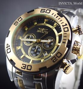 INVICTA Men's Pro Diver Big Face Gold & Silver Tone Chronograph 50MM Watch New