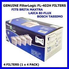 PACK OF 4 FILTERLOGIC H-FLOW CARTRIDGES TO FIT BRITA MAXTRA & LAICA BI-FLUX