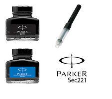 More details for genuine parker quink fountain ink bottle  pot 30ml - blue black