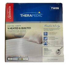 Sunbeam Heated Quilted Mattress Pad TWIN therapedic new