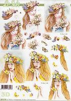249 3D Bogen Motivbogen Etappenbogen Grußkarte Bastelbogen Blumenmädchen