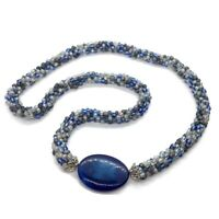 HandMade Beaded Rope Necklace, Glass Seed Beads Agate Gemstone