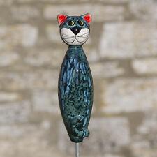 Keramik Katze groß in türkis für den Garten / Gartenstecker / Tangoo