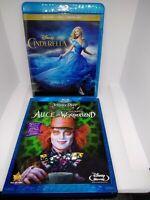Disney kids movie dvd bluray lot set Alice in wonderland Cinderella live