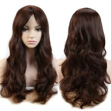 Women Long Hair Wig Natutal  Curly Wavy Cosplay Party Dress Mid Brown Full Head