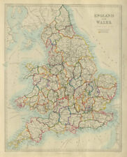 ENGLAND AND WALES. Canals, rivers, railways & counties. SDUK 1874 old map