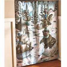 Winter Shower Curtain Moose Bears Raccoon Play In Snow Cabin Bathroom Decor Idea